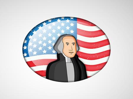 george washington: Ilustración de la bandera de EE.UU. para el presidente Día