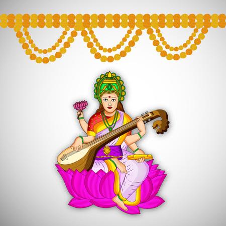 saraswati: Illustration of Goddess Saraswati for Vasant Panchami