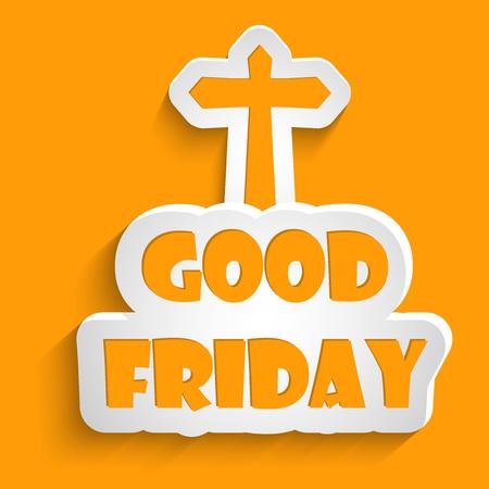 viernes santo: Buen texto viernes con efectos con la ilustración de la Cruz para el Viernes Santo Vectores