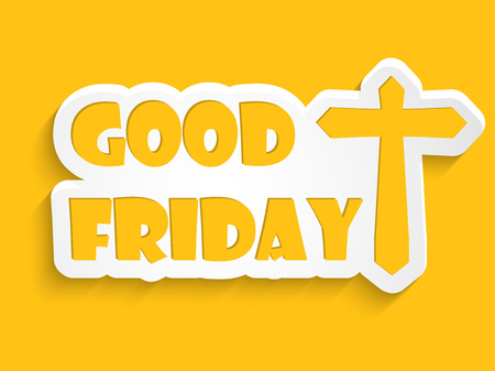 viernes santo: Good Friday text with effects with Illustration of Cross for Good Friday Vectores