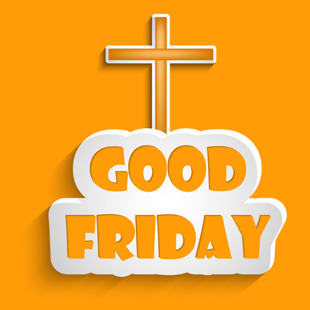 Illustration of cross and text with effects for Good Friday Illustration