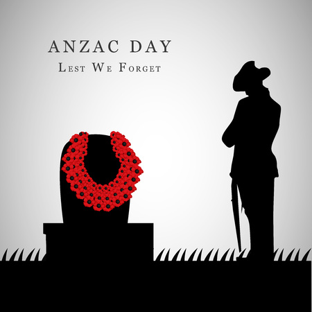 tribute: Illustration of elements for Anzac Day