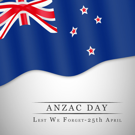memory card: Illustration of New Zealand flag for Anzac Day Illustration