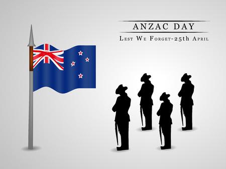Illustrazione della bandiera della Nuova Zelanda per Anzac Day