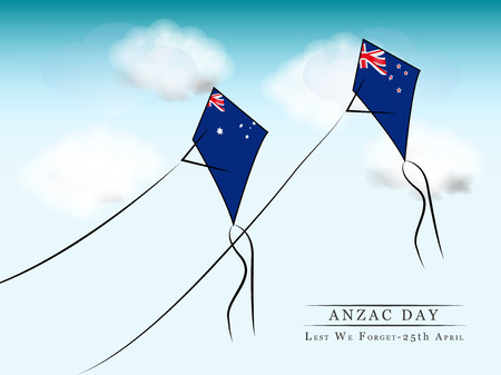 Illustration of New Zealand and Australia flag with kites for Anzac Day