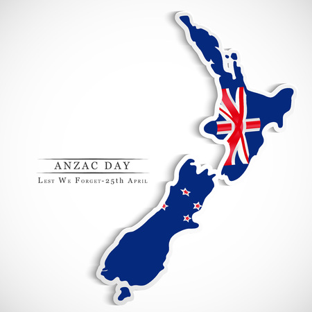 Illustration of New Zealand flag for Anzac Day Illustration