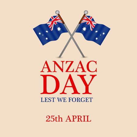Illustration of Australia flag for Anzac Day Illustration