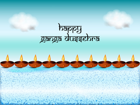 Illustration of Ganga Dussehra, which is celebrated in the month of June, called as Jyeshtha as per the Hindu calendar, background.