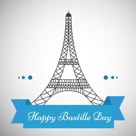 nationalism: Illustration of elements for France Bastille Day background