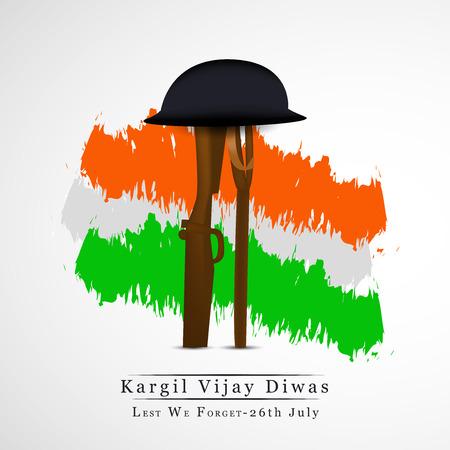 illustratie van Kargil Vijay Diwas achtergrond. Het wordt elk jaar op 26 juli gevierd ter ere van de Kargil War's Heroes in India.