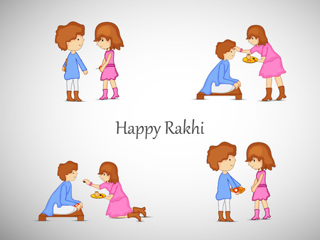 Illustration of Hindu Festival Raksha Bandhan background.