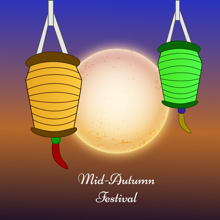 middle: illustration of elements of Mid Autumn Festival background