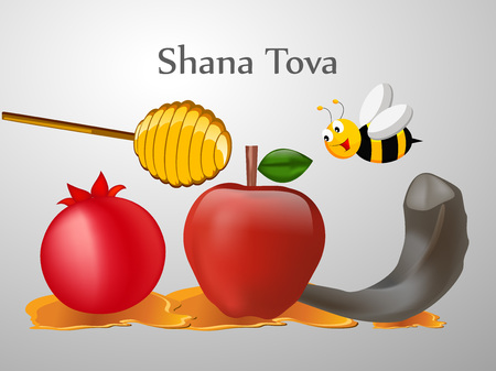 jewish: illustration of elements of Jewish New Year Shana Tova Background Illustration