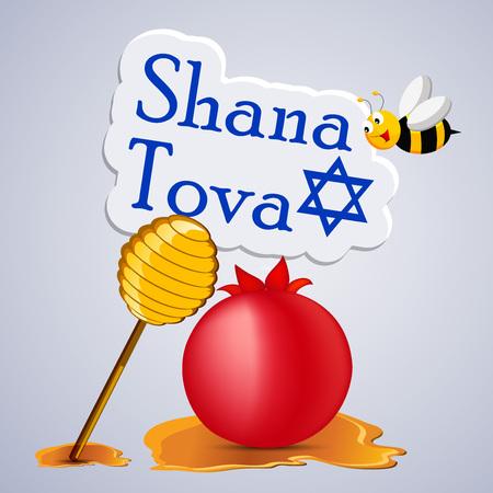 illustration of elements of  Jewish New year Shana Tova background Illustration