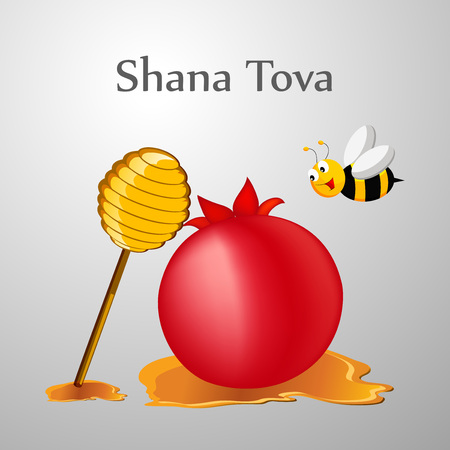 illustration of elements of  Jewish New year Shana Tova background Illustration
