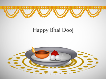 festive occasions: illustration of elements of hindu festival Bhai Dooj Background