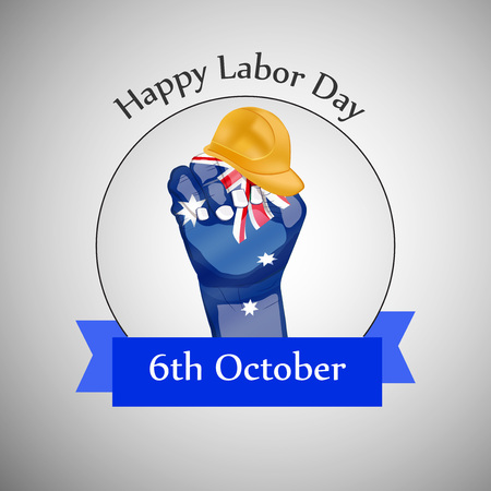 6th: illustration of elements of Australia labor day background