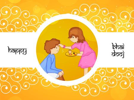 bhai: illustration of elements of Hindu Festival Bhai Dooj Background