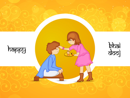 Illustration  of elements of Hindu Festival Bhai Dooj Background