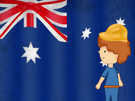 6th: Illustration  of elements of Australia labor day background with boy