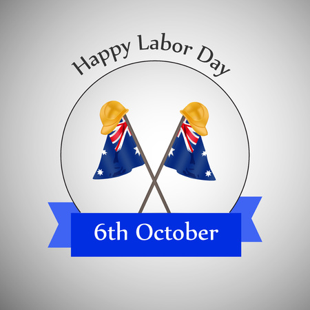 workers rights: illustration of elements of Australia labor day background