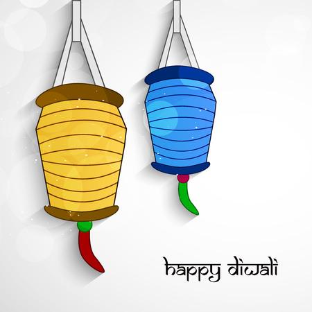 Ilustración de los elementos de la linterna del festival hindú Diwali de fondo