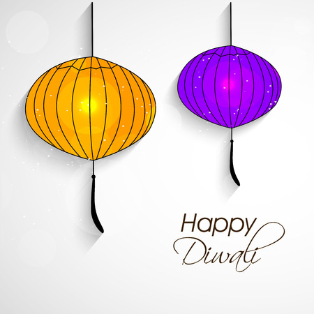 Illustration of lantern elements of hindu festival Diwali background