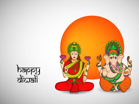 illustration of elements of hindu festival Diwali background Illustration