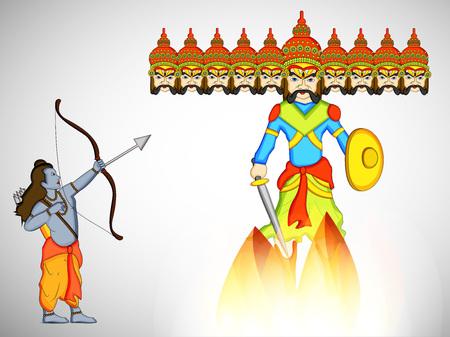 illustratie van elementen van hindoe festival Dussehra achtergrond