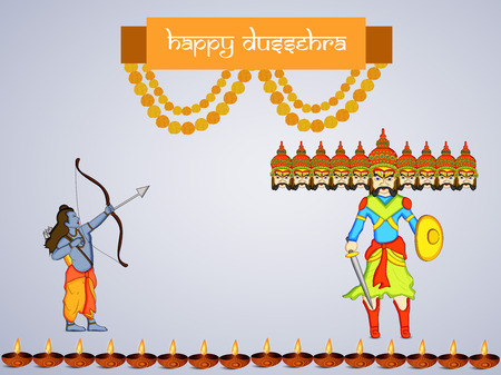 Illustration of elements of hindu festival Dussehra background Illustration