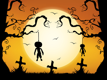 illustration of elements of Halloween Background