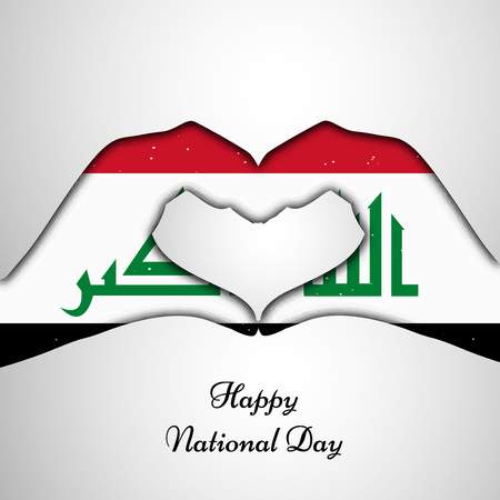 Hands in heart shaped formation with Iraq flag for National Day celebration