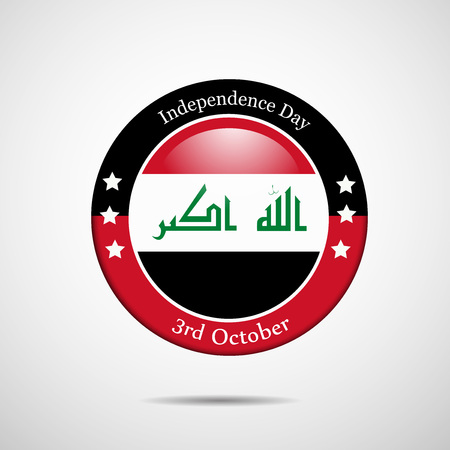 web site design template: Illustration of elements of Iraq National Day  in circle Illustration