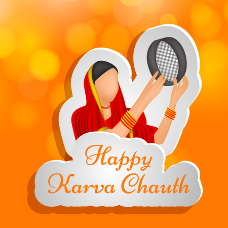 festive occasions: illustration of elements of Hindu Festival Karwa Chauth background