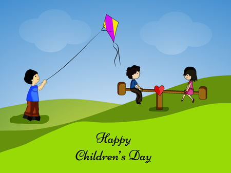 illustration of elements of Childrens Day pattern
