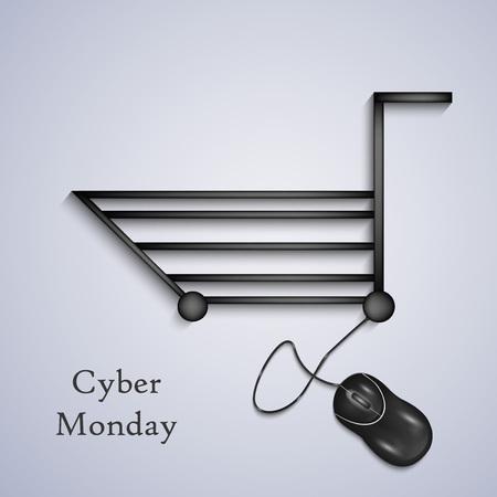 illustratie van elementen van Cyber ??maandag achtergrond Stock Illustratie