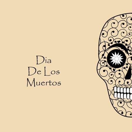 illustration of elements of Dia De los Muertos background Illustration