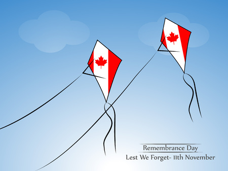 Illustration of elements of Remembrance Day background with Kite