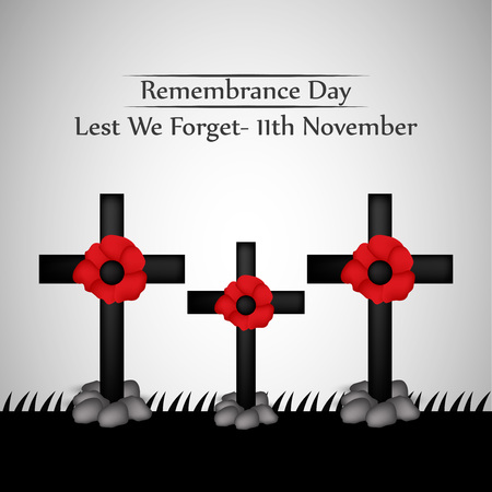 Ilustration of elements of Remembrance Day background - Lest we forget