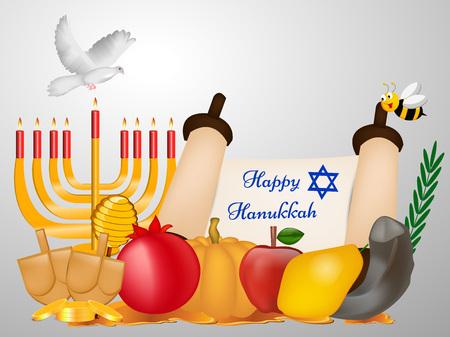 Hanukkah vacances carte de voeux design. Banque d'images - 89042764