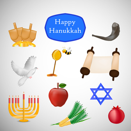 Hanukkah holiday related icons.