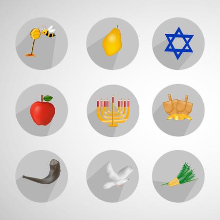 Hanoukka vacances liées icônes. Banque d'images - 89042771