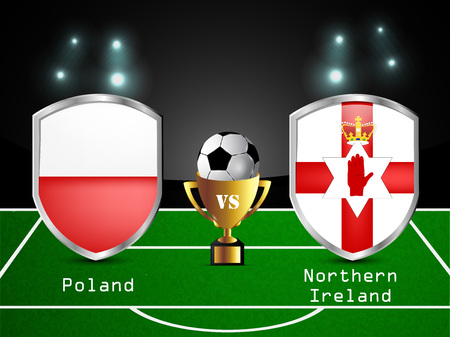 Illustration of different countries flag participating in soccer tournament Illustration