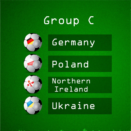 Illustration of different countries flag participating in soccer tournament.