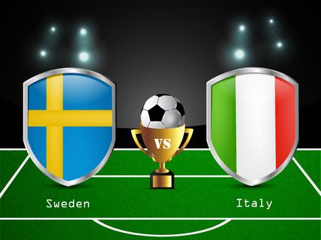 bandera de suecia: Illustration of different countries flag participating in soccer tournament Vectores