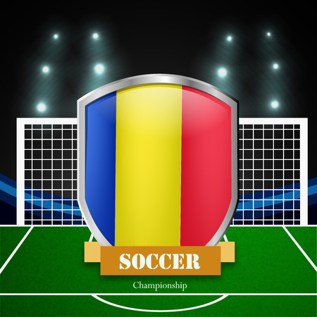 Illustration of Romania flag participating in soccer tournament Illustration
