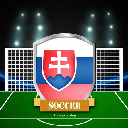 Illustration of Slovakia flag participating in soccer tournament