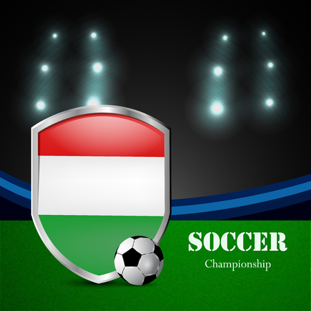 Illustration of Hungary flag participating in soccer tournament