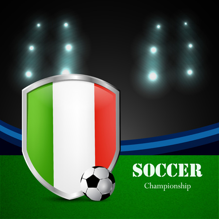 Illustration of Italy flag participating in soccer tournament