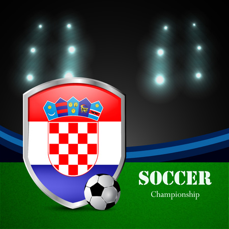 Illustration of Croatia flag participating in soccer tournament Illustration